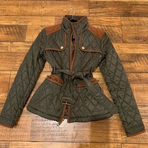 Olive green quilted jacket with rust accents XS